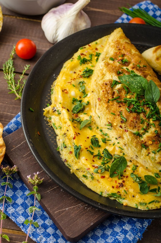 Chives cheese omelette recipe